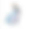 Breloque licorne émaillée blanche et bleue