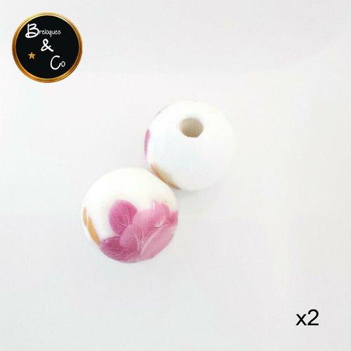 Perle céramique blanche motifs fleurs roses et jaunes - 12mm - lot de 2