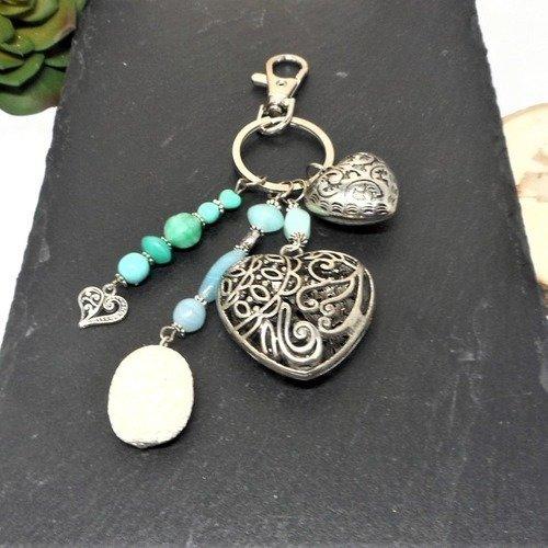 A parfumer!!! bijou de sac argenté, coeur perles vertes par breloques et cie