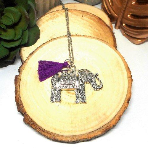 Collier sautoir grand pendentif éléphant et pompon violet par breloques et cie