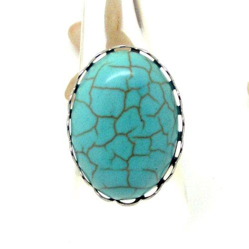 Bague réglable argentée  imitation pierre turquoise par breloques et cie