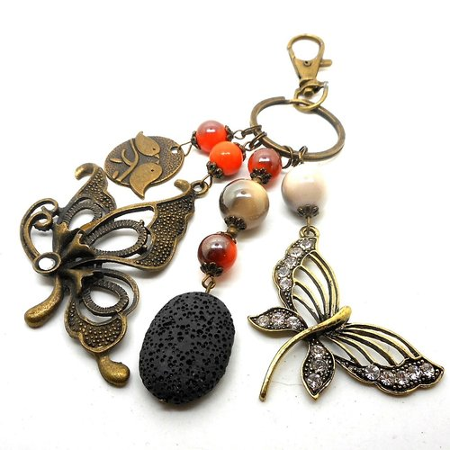 A parfumer!!! bijou de sac bronze, breloques oiseau papillon libellule perles oranges et beiges métallisées
