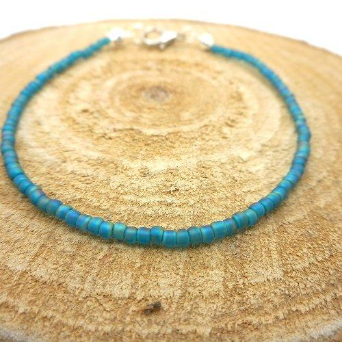 Bracelet fin a porter seul ou assembler, perles de rocaille turquoise