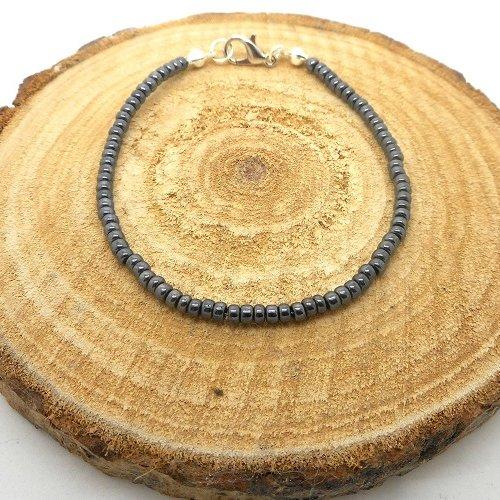 Bracelet fin a porter seul ou à assembler, perles de rocaille gris foncé