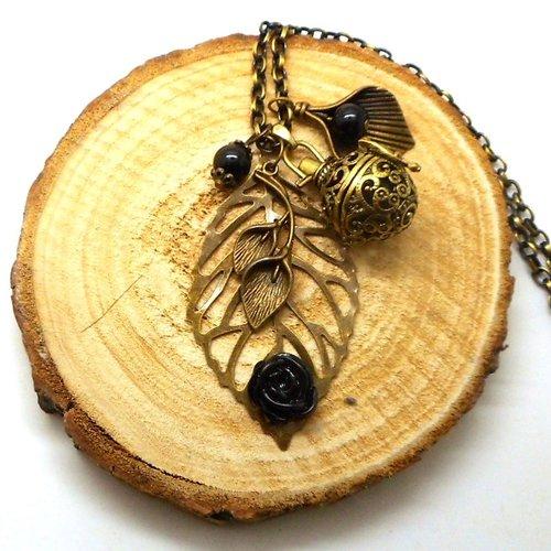 A parfumer!!! collier sautoir a parfumer feuille, fleur noire, breloques feuilles