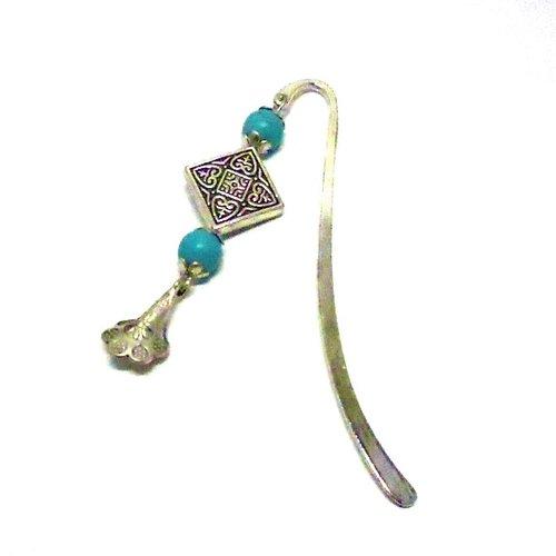 Marque pages bijou argenté, perles turquoises par breloques et cie