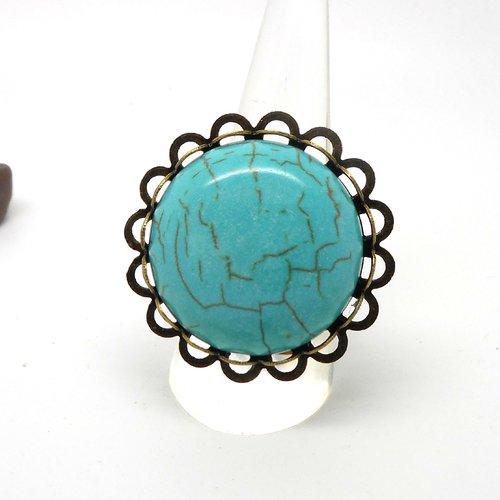 Bague bronze et cabochon imitation turquoise par breloques et cie