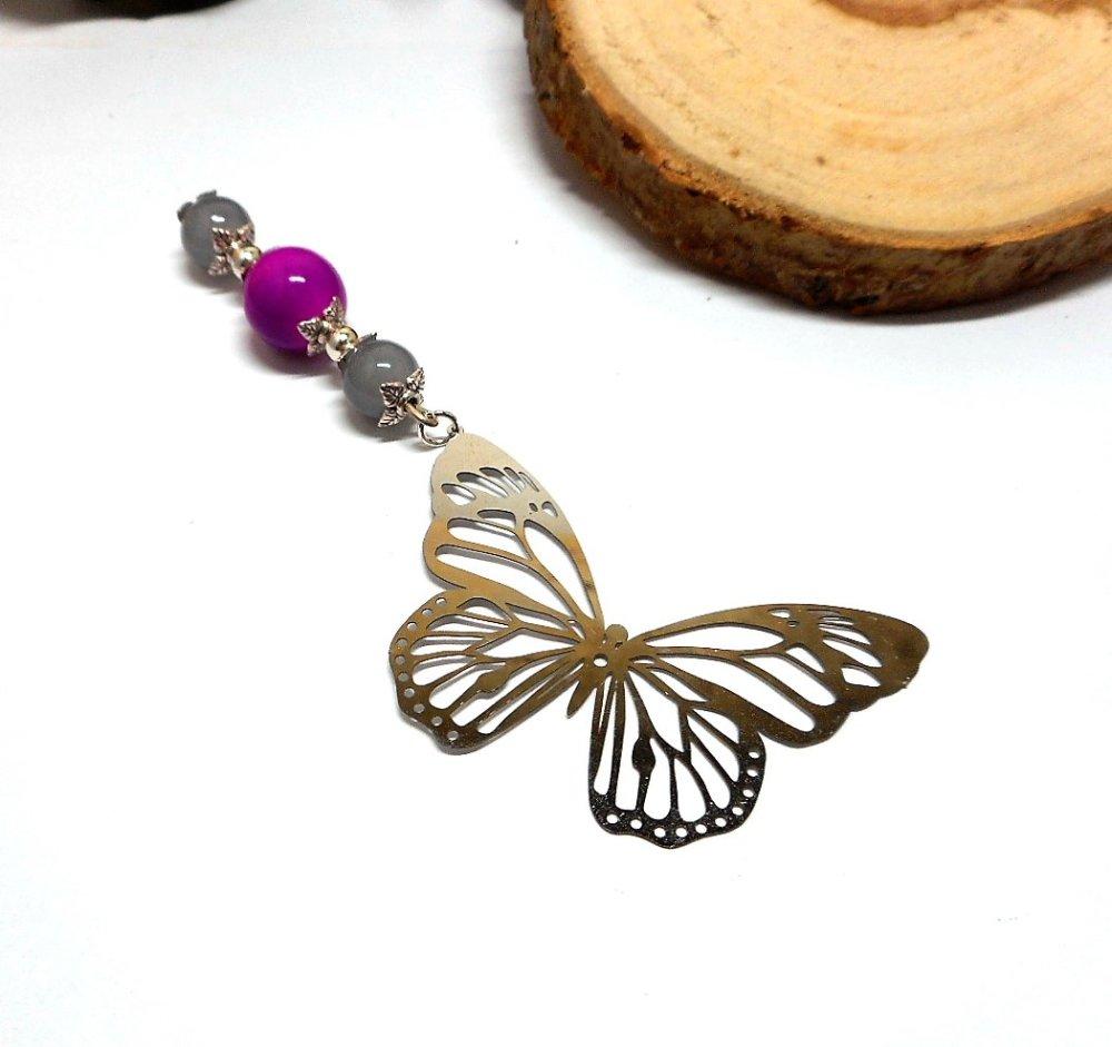 Marque page papillon filigrane, perles grises et violette par breloques et cie
