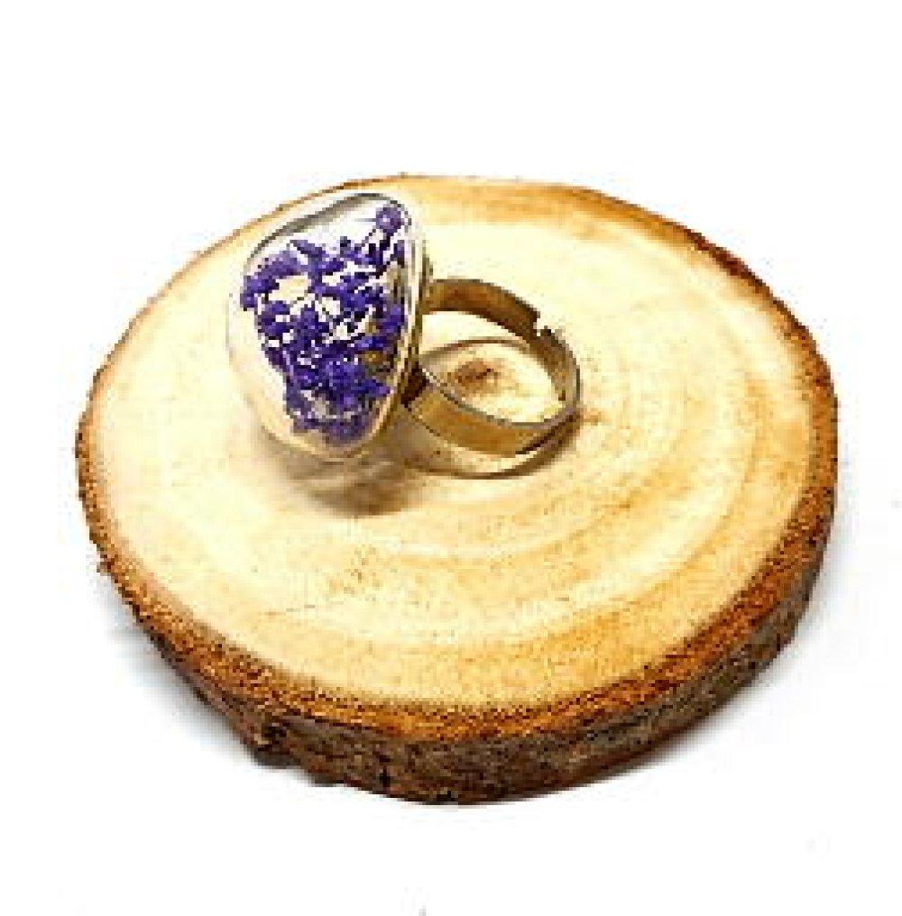 Bague globe en verre feuillage violet par breloques et cie