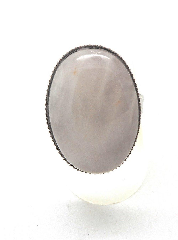 Bague argentée cabochon quartz rose par breloques et cie