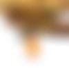 Collier sautoir globe en verre sable épais orange, breloque fleur par breloques et cie