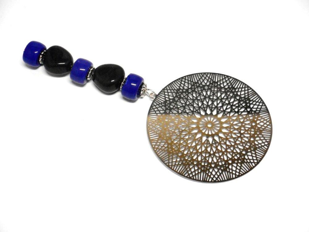 Marque pages bijou argenté,estampe filigrane perles bleues par breloques et cie