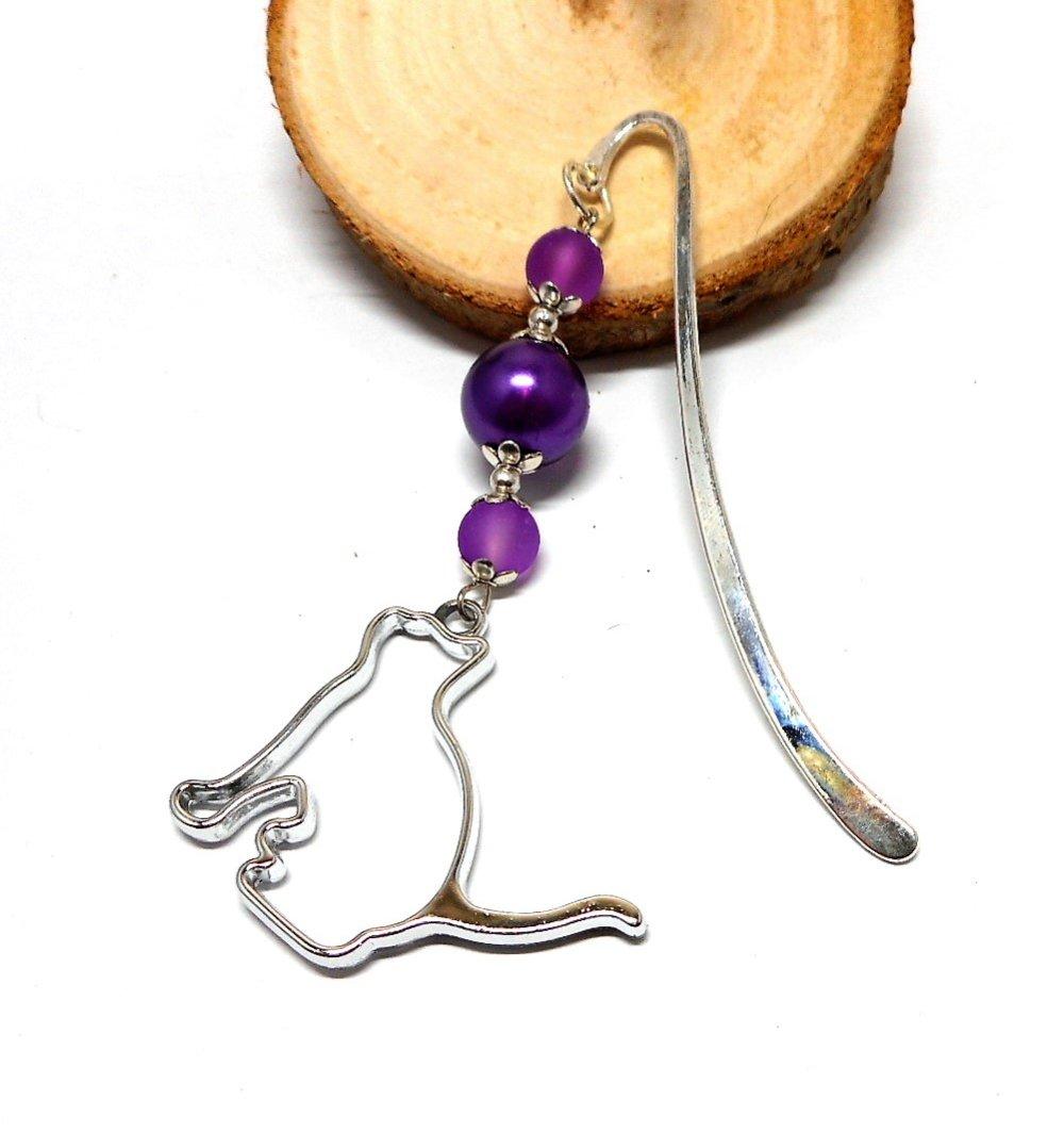 Marque pages bijou argenté, breloque chat perles violettes par breloques et cie