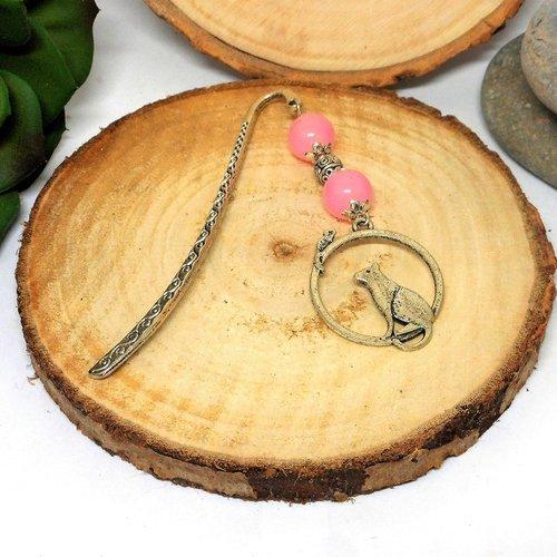 Marque pages bijou , chat perles roses par breloques et cie
