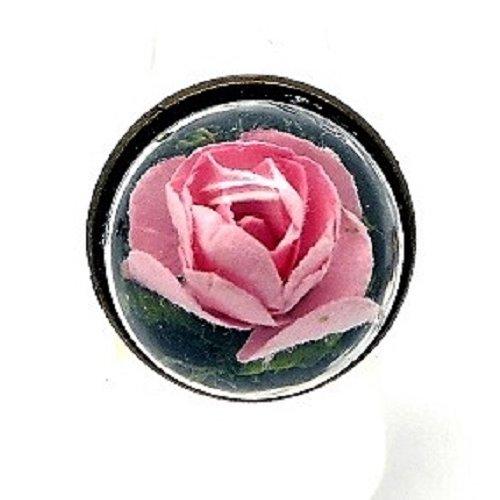 Bague globe petit bout de nature rose pale par breloques et cie