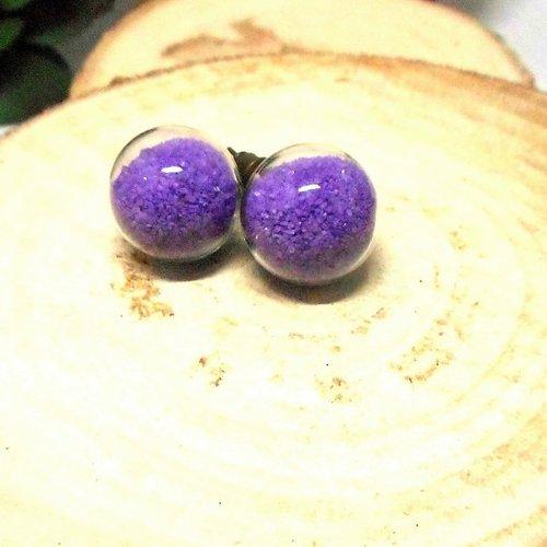 Boucles d'oreilles globe sable violet par breloques et cie