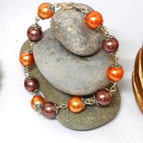 Bracelet fantaisie oranges et marrons par breloques et cie