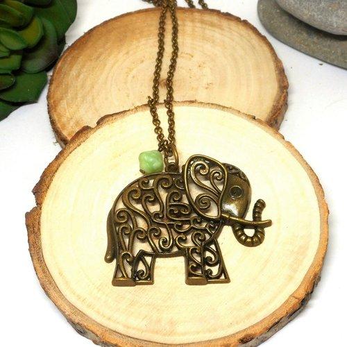 Sautoir fantaisie bronze éléphant perle verte par breloques et cie