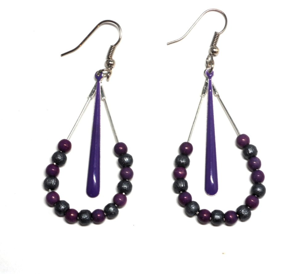 boucles d'oreilles gouttes perles violettes et grises
