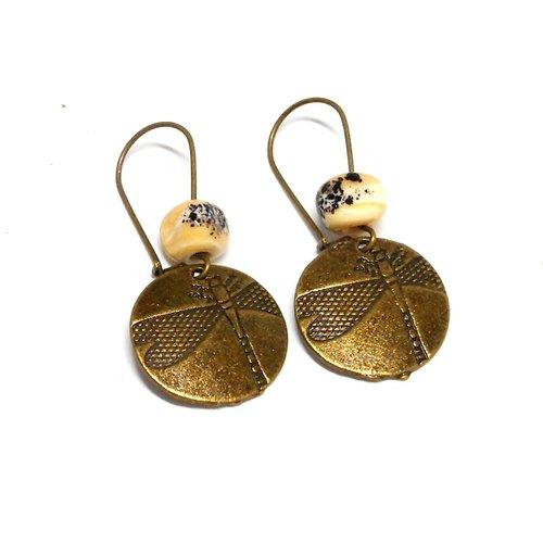 Boucles d'oreilles libellules bronze perles filées beige