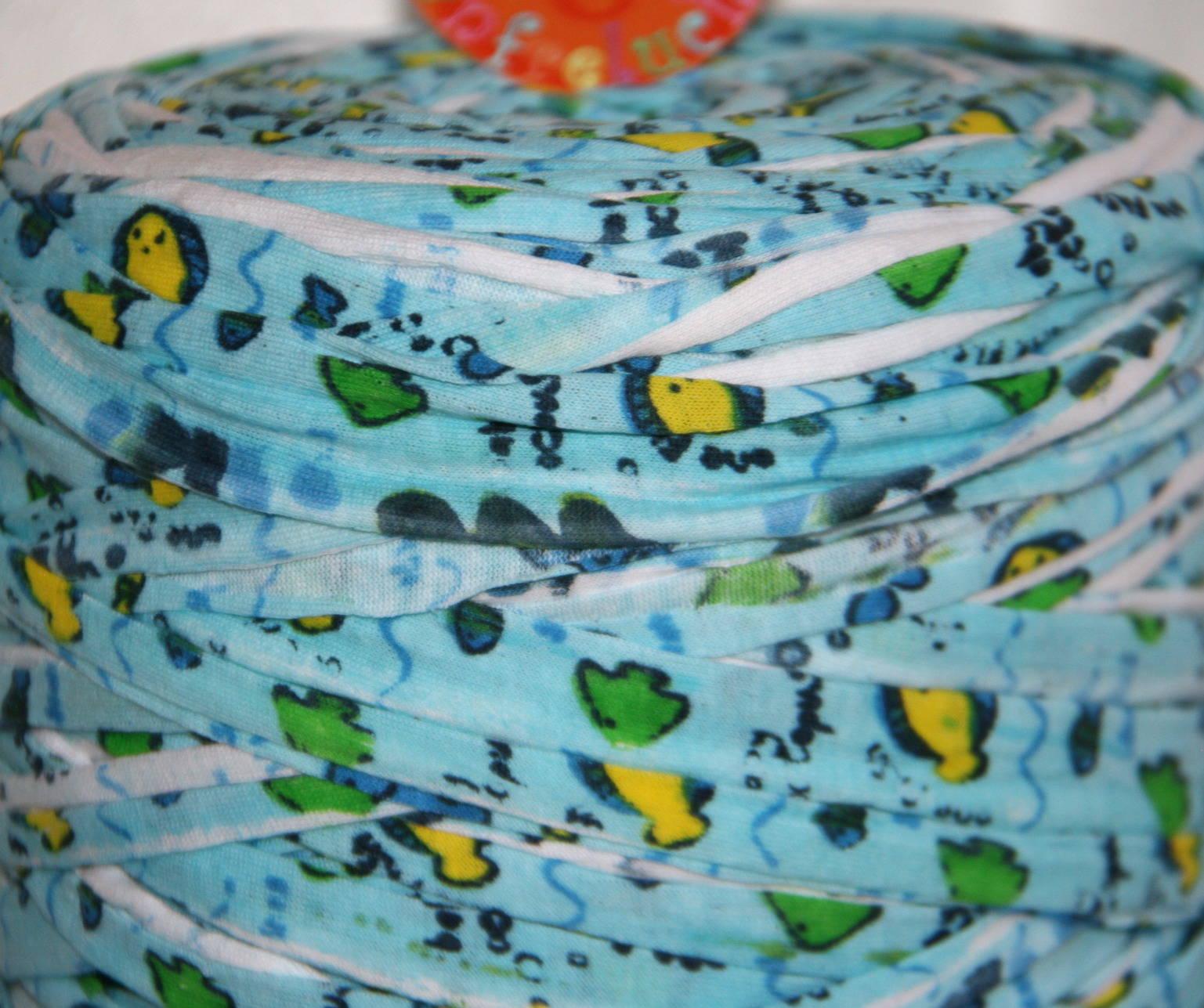 Bobine Trapilho 700 à 800 gr - Fantaisie, Bleu ciel/jaune/vert