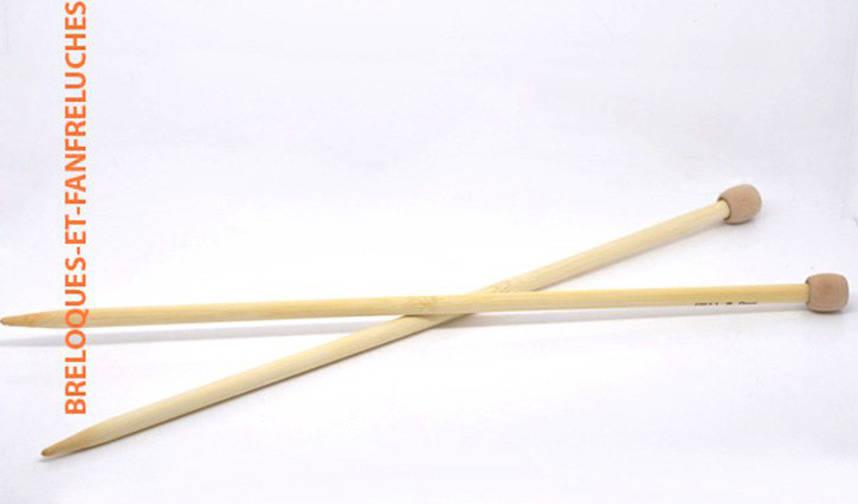 Aiguilles à tricoter en bambou - n°8, 34 cm pour trapilho ou gros fils
