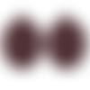 2 breloques rondes incurvées et martelées, imprimé léopard bordeaux, 30*26mm (kb20)