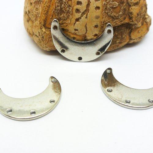 4 connecteurs demi-lune lisses - 19*14mm - argent platine (8sca79)