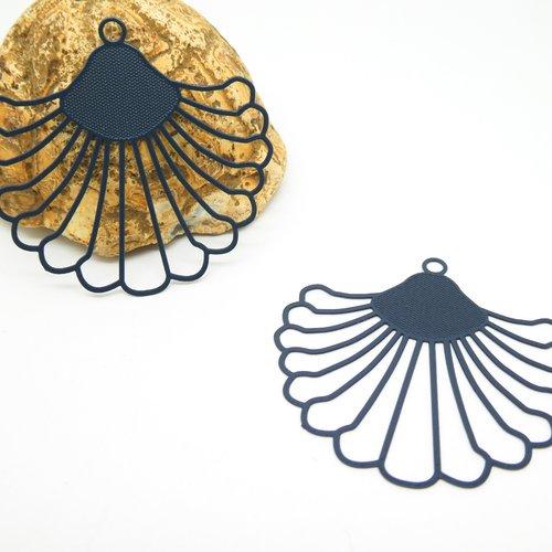 2 estampes filigranées forme fleur / éventail 40*37mm bleu marine  (wes13)