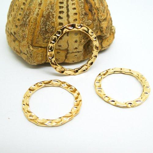 4 connecteurs ethniques ronds martelés 20mm laiton doré - intercalaires ronds or (uscd09)