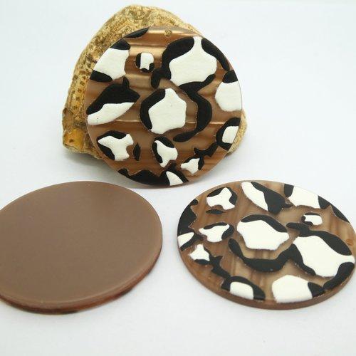 2 pendentifs ronds en acrylique 35mm imprimé léopard marron et blanc (kr162)
