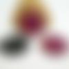 2 pendentifs ronds en acrylique 25mm imprimé léopard rose (kr164)