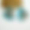 2 paire boucles d'oreilles puce avec trou, forme géométrique arrondie 19*16mm acrylique bleu et feuilles blanches  (kbo23)