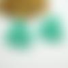 2 paire boucles d'oreilles puce avec trou, forme géométrique arrondie 19*19mm acrylique vert  (kbo28)