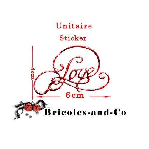 Découpe love  texte design  élégant  modèle b  sticker rouge brillant .taille 6cm x4cm .unitaire n°800