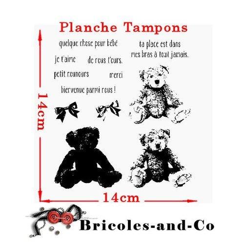 Tampon ourson relief et texte français. planche 13 tampons.  taille 14cm. n°5030