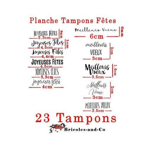 Tampon Texte Mots Français Fêtes Joyeuses Fêtes Meilleurs Vœux Bonne Année Joyeux Noël Planche 23 Tamponsn5030