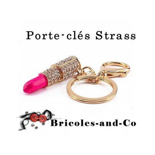Porte-clés femme rose à lèvre, accessoire mousqueton doré, strass bijoux.n°962