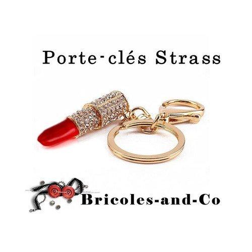 Porte-clés femme rouge à lèvre, accessoire mousqueton doré, strass bijoux.n°962