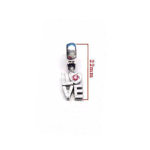 Pendentif love perle pandora , argenté et strass rose . taille  environ 2,2cm. unitaire n°18