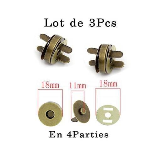 Aimant bronze ø 18 mm .lot de 3pcs : fermoir, système de fermeture pour vos créations d'accessoires, sacs, cartonnage...n°231