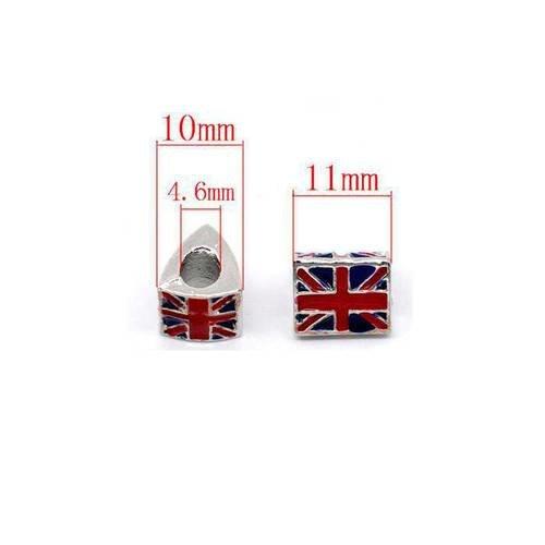 Perle anglais drapeau triangle .taille 11x10mm unitaire  n°173