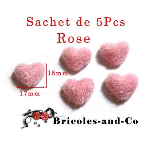 Cœur peluche rose de 15x17mm .embellissement scrapbooking. lot 5 piéces. n°803