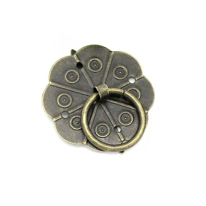 Poignée Bronze ronde Modèle B taille 29mm. Accessoire raffiné avec anneau. Unitaire N°102