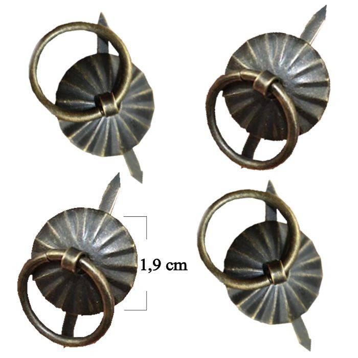 Poignée bronze ronde en forme de fleur taille 1.9cm. Lot de 4 pièces  N°102