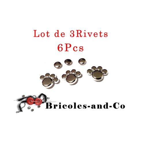 Rivet patte, argenté, bouton empreinte animal, bouton-pression patte, n°49. lot de 3 rivets en 6pcs.