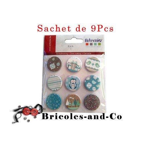 Brads artemio , noël givré , attaches  parisiennes noël,  scrapbooking décoration , n°614 .sachet de 9pcs