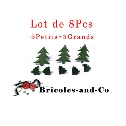Brads sapin, attaches parisiennes noël,  scrapbooking décoration, vert. n°602 .lot de 8pcs : 5petits et 3grands
