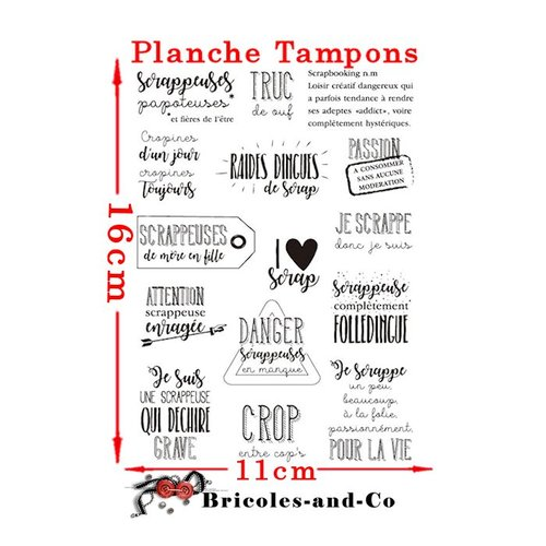 Tampon  texte scrappeuse. planche 15 tampons français.   n°5030