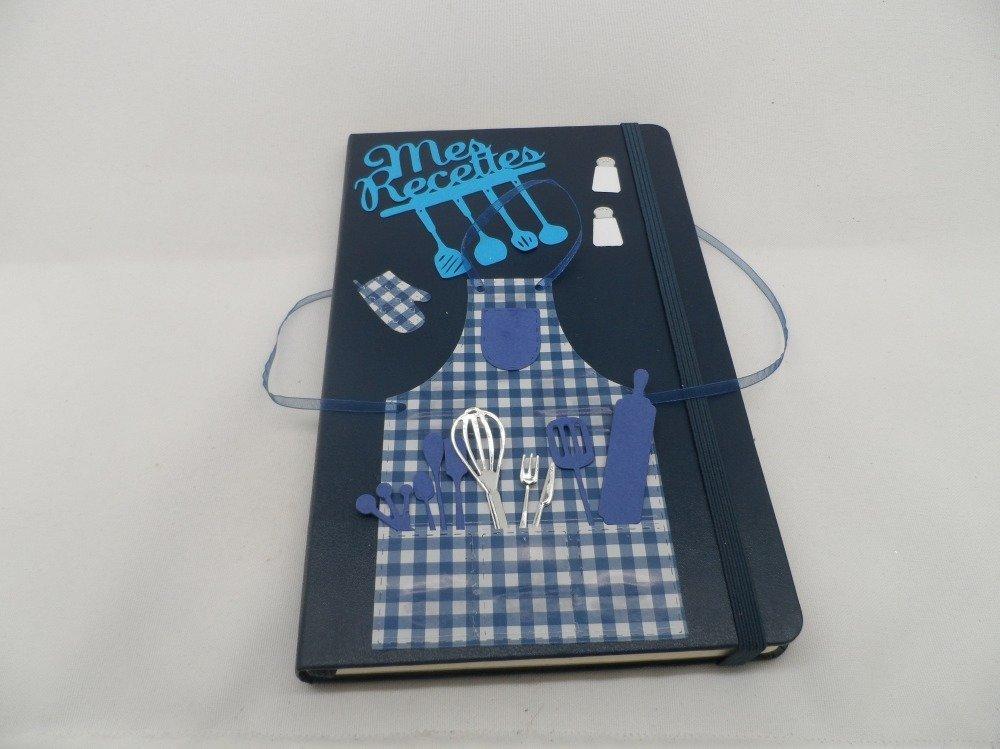 n°61 cahier de recettes bleu marine  vierge décorer pour mettre sur papier vos propres recettes